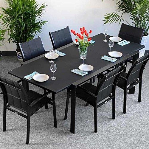 Lazy Susan Table Janine et 6 chaises Georgia - Noir | Table Extensible 220cm pour l'intérieur et l'extérieur