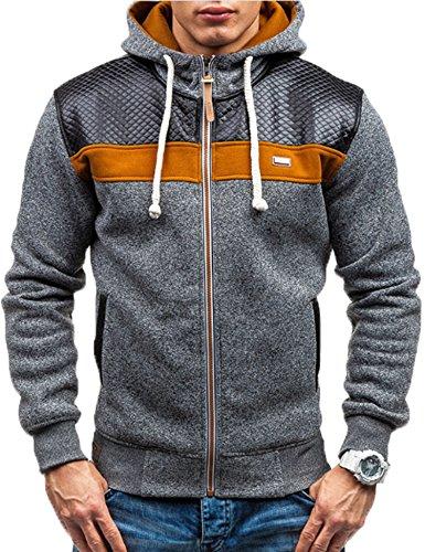 Modfine Men's Long Sleeve Zip-Up Casual Fleece Hoodie Coat Sweatshirt Jacket(Dark Gray,Medium)