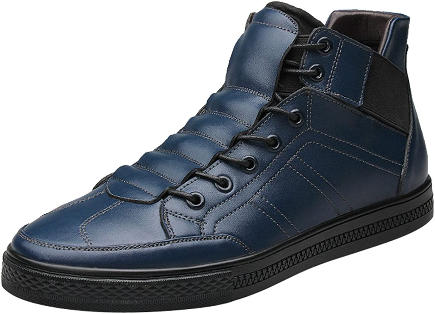 Salabobo QYY-LT1698 Mens Fashion Leather Casual Comfy Warm High Top Snow Ankle Boots