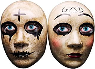 Grey Cross & GOD Horror Killer Purge mask Men,The Purge Anarchy Movie,Halloween Couple Mask,Masquerade Costume Party,Fits Most Adult Teens …