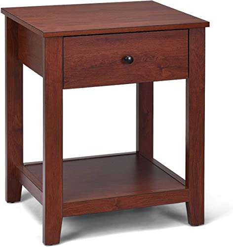 high quality Giantex high quality Nightstand W/Drawer, Storage Shelf and Pull Handle,Beside Sofa Corner outlet sale for Bedroom, Living Room, Contemporary Accent Espresso Furniture End Table (1) outlet online sale