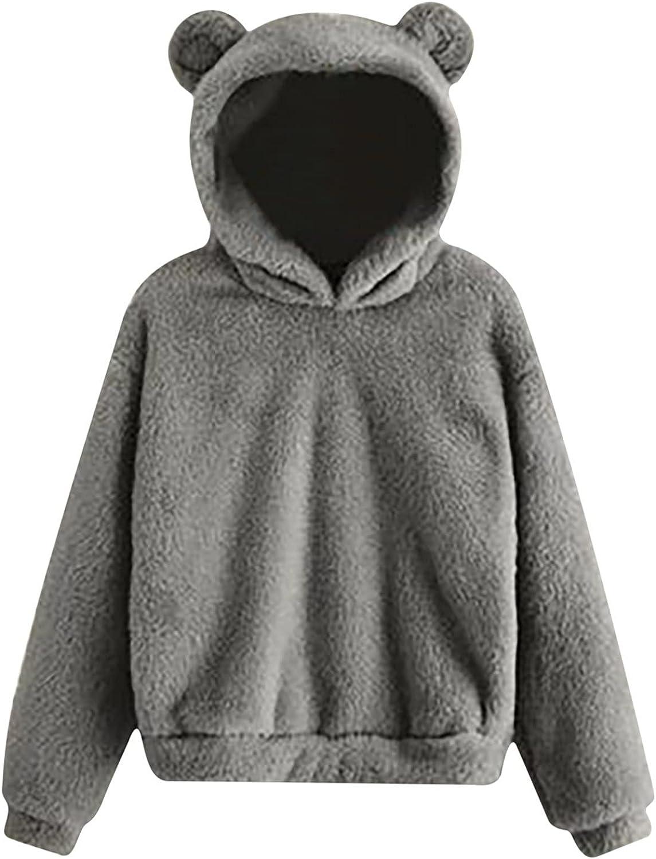 Bear Ears Sweatshirt Coat for Teen Girls Women Winter Tunic Plush Warm Hoodie Long Sleeve Fleece Pullover Fluffy Top