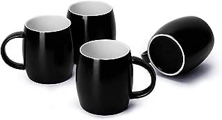 Teocera Porcelain Mugs, Coffee Mugs Set - 16 Ounce for Tea, Juice, Cocoa - Set of 4, Black