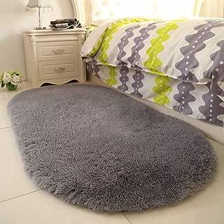 YJ.GWL High Pile Soft Shaggy Grey Area Rugs for Nursery Bedroom Floor Gray Baby Carpets Home Decor 2.6' X 5.3'