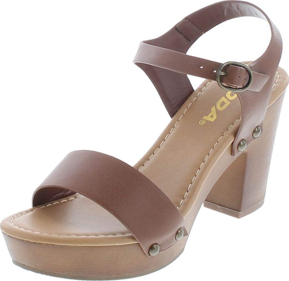 Soda CHIVAS ~ Women's Bold Buckles Studded Wedge Sandal