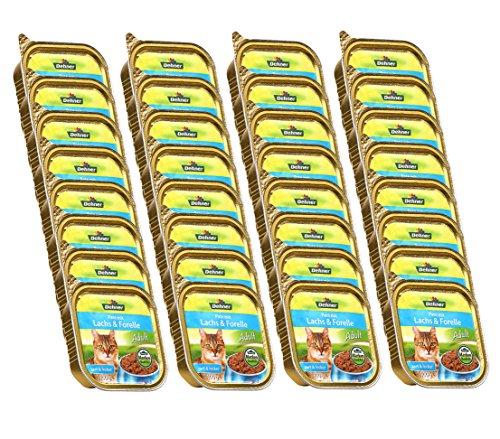 Dehner Katzenfutter, Paté Adult Lachs und Forelle, 32 x 100 g (3.2 kg)