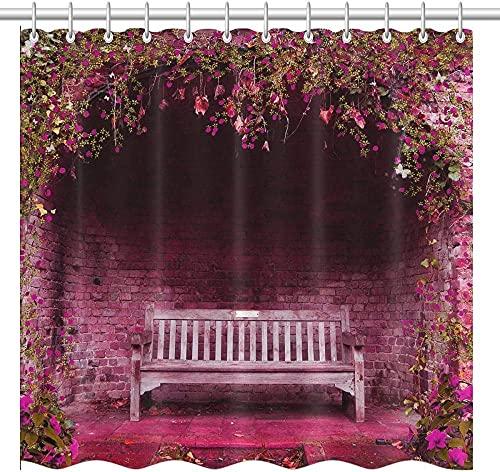 Escena de jardín de Primavera con Flores Rosas y Banco Cortina de Ducha de Tema romántico Cortina de Ducha de Tela de poliéster Impermeable Decoración de baño Moderna
