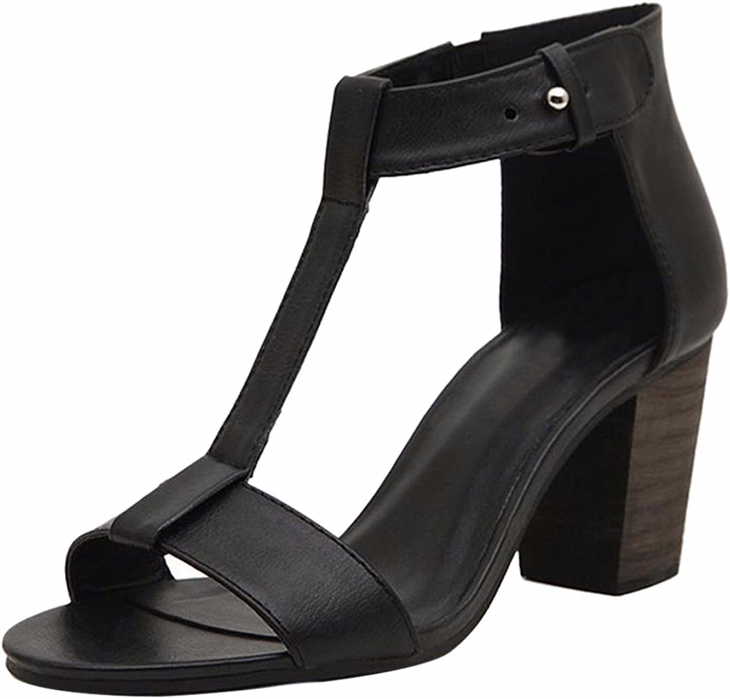 Qiyun Vintage Retro Women Open Toe Summer Sandals Ankle Strap Party Chunky Heel shoes