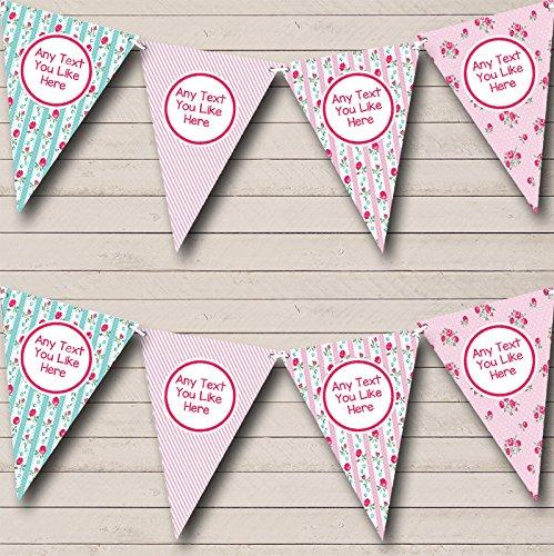 Chintz Shabby chique rozen roze strepen kip doen nacht Bunting partij Banner decoratie slinger Small