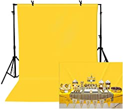 TOAOFY 5x7ft Yellow Backdrop Professional Yellow Screen Sheet Muslin Background Photo Backdrop Studio Photography Props TAY004