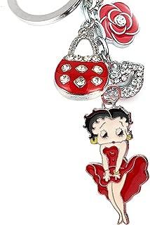 Monnel New Cute Red Betty Boop Rose Handbag Kiss Lip Fashon Charms Keychain Z254-B