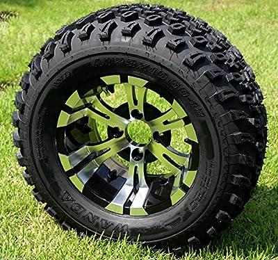 "Golf Cart 12""x 7"" Vampire Aluminum Wheels & 23"" All Terrain Tires-set Of 4"