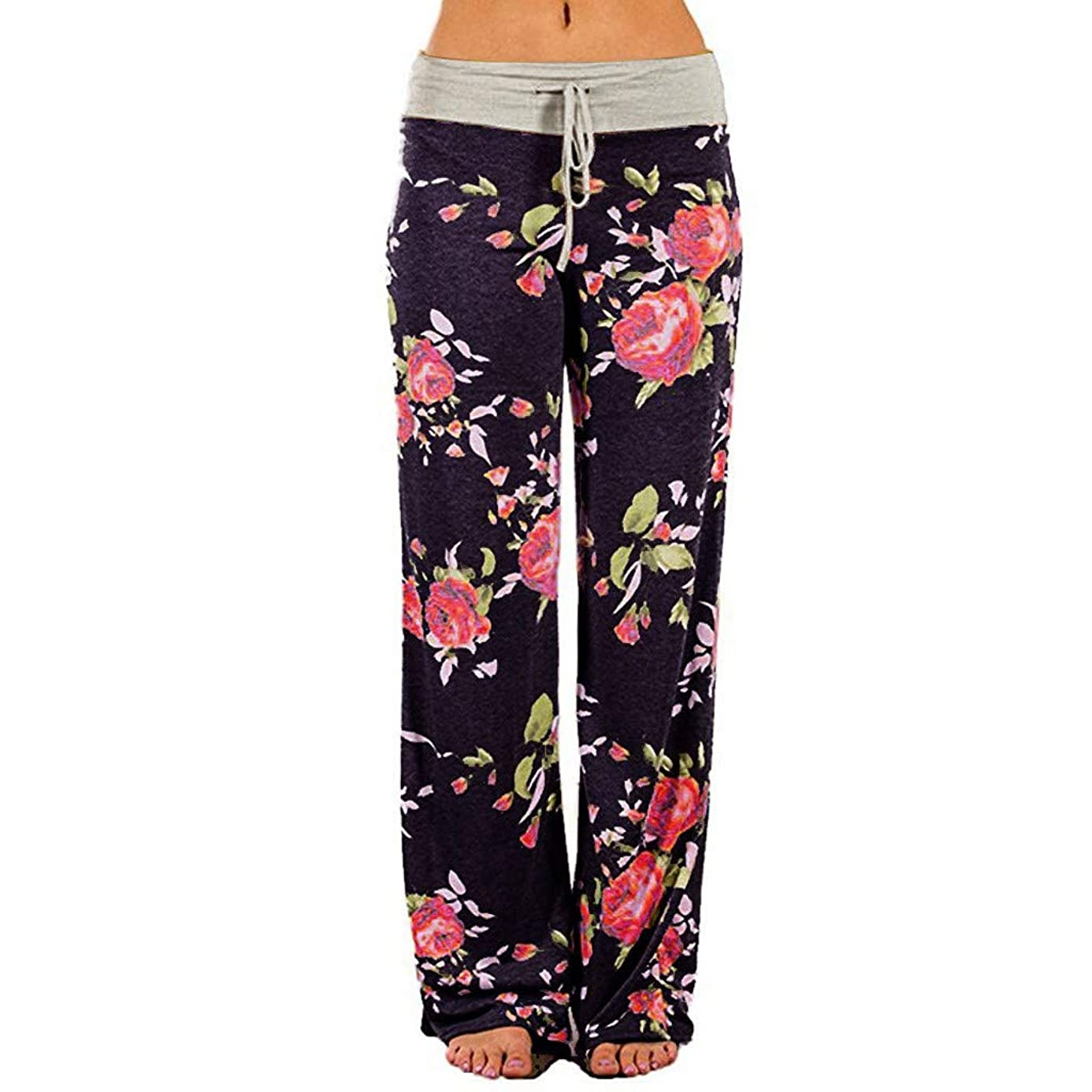 hositor Yoga Pants for Women, Ladies Comfy Stretch Floral Print Drawstring Palazzo Wide Leg Lounge Pants