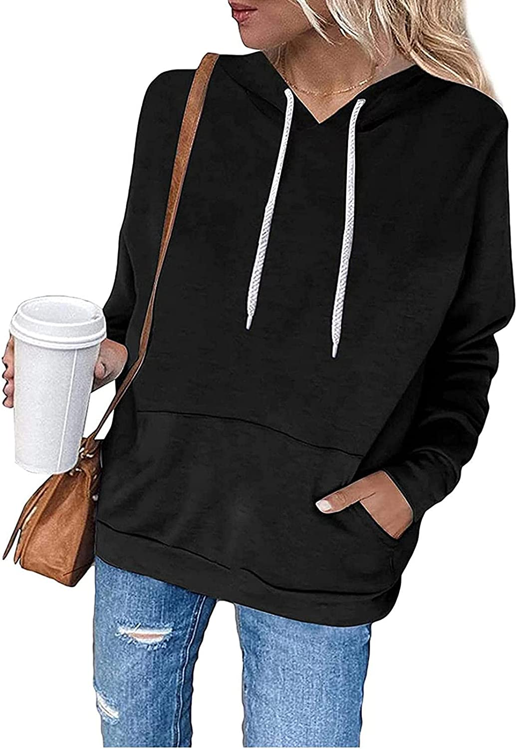 Auwer Women's Lightweight Pullover Sweatshirt Solid Loose Long Sleeve with Pocket