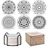 SueH Design Posavasos de Cerámica con Base de Corcho Antideslizante Absorbente 6 Piezas, Diseño Mandala para Vasos, Copas, Tazas, Incluida un Soporte de Metal(Monocromo)