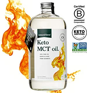 Natural Force Keto MCT Oil, Pure C8 (Caprylic Acid) in Glass Bottle, 32oz   Best for Ketone Production & Quick Energy   Premium MCTs from Non-GMO Verified Coconuts, Keto Certified – NO Palm Oil