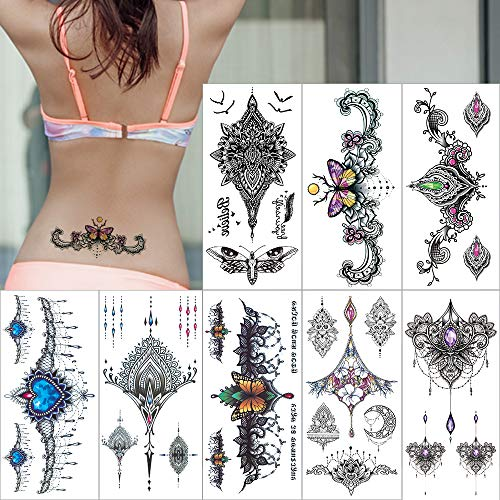 Temporary Tattoos Chest Art Stickers for Women Mandala Boho Flower Festive Tattoo Removable Sexy Tattoo Waterproof