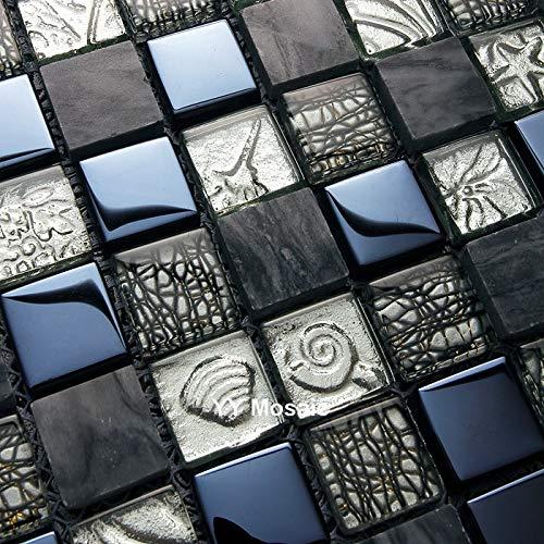 Cylficl Piedra gris de lujo mezclado negro vidrio metal mosaico azulejo,cocina Backsplash cintura baño ducha azulejos pasillo cubierta pared