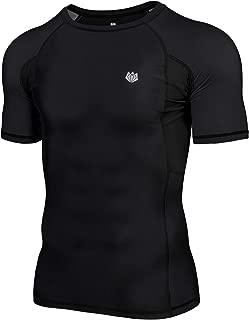 FitsT4 Men's UPF 50+ Sun Protection Short Sleeve Compression Training Swim Rash Guard Shirt for Gi,No-Gi,MMA,BJJ,Wrestling