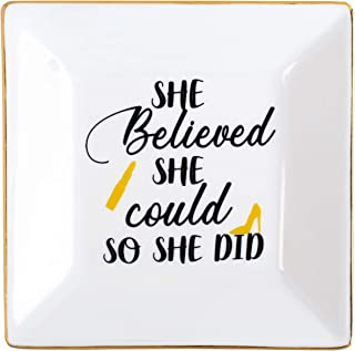 Kaidouma Inspirational Gifts for Women Friends Ring Trinket Dish Ceramic Decorative Jewelry Tray - She Believed She Could, So She Did