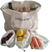 SUMMER & WEST Eco Friendly Shopping Bag Set - Complete 6 Piece Grocery Shopping Set - 1 Large Canvas Farmers Market Bag plus 5 Reusable Cotton Mesh Produce Bags -Zero Waste Starter Set - Made From Machine Washable Organic Cotton.
