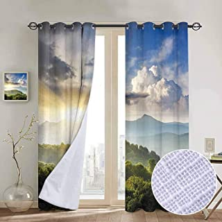 Jinguizi Large Window Nature,Rising Sun Clouds Over Forest Hill Woodland Idyllic Countryside View,Olive Green Blue Yellow Patio Door Curtain Panel Home Decoration 96 x L108 inches