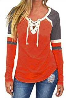 Famulily Women's Lace Up Front Long Sleeve Tops Striped Crew Neck Raglan Baseball Tee Shirt