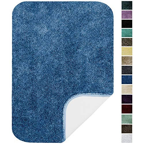 Maples Rugs ColorSoft Non Slip Washable & Quick Dry Soft Bathroom Rugs [Made in USA], 23.5' x 39', Federal Blue