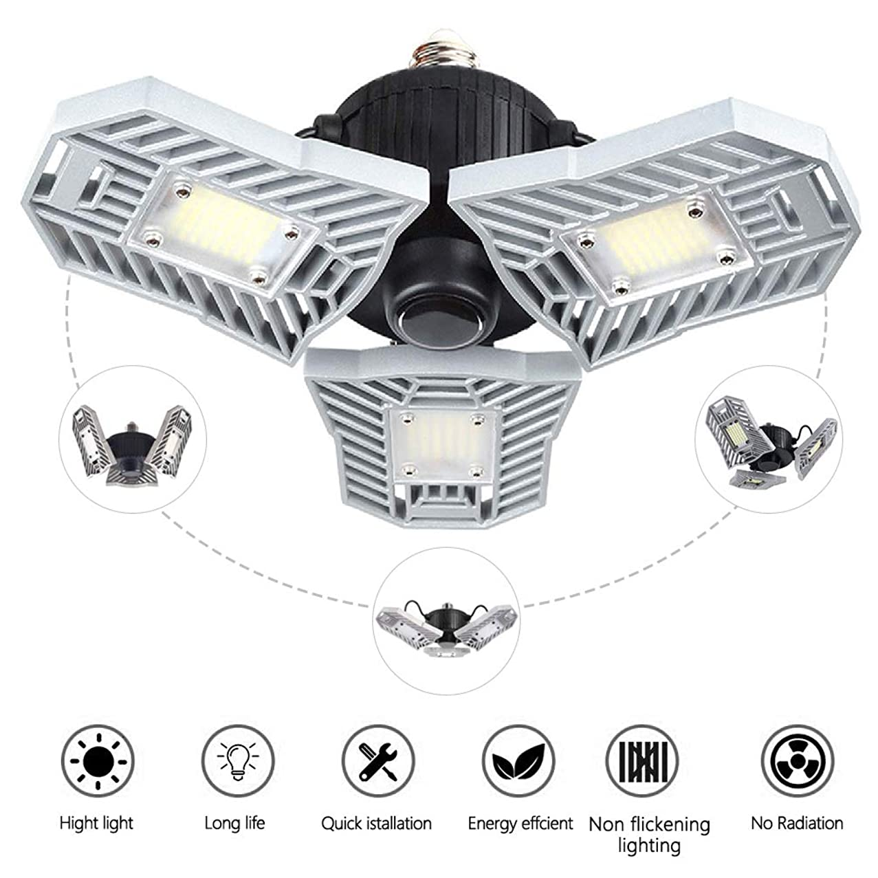 Ceiling Light,Led Garage Lights 60W Deformable E26/E27 6000LM,for Workshop,Trilight Shoplight,Industrial Lamp,Barn,Cellar (No Motion Activated)