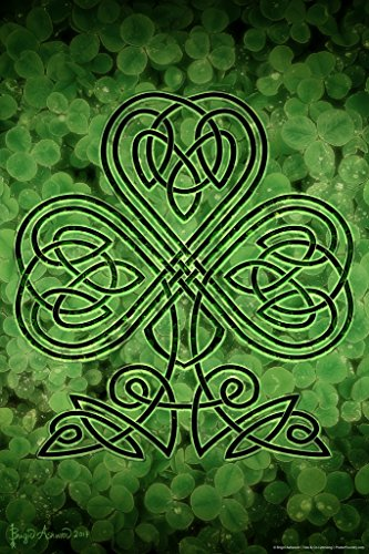 Celtic Shamrock by Brigid Ashwood Fantasy Art Wall Decor Nature Clover Illustration Celtic Ornate Wall Art Flower Knot Pattern Spiritual Art Print Decorative Cool Wall Decor Art Print Poster 12x18