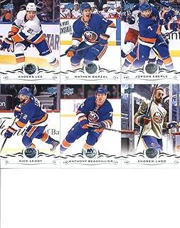 2018-19 Upper Deck Series 1 and 2 Hockey Complete New York Islanders Team Set of 13 Cards: Andrew Ladd(#114), Anthony Beauvillier(#115), Nick Leddy(#116), Jordan Eberle(#117), Mathew Barzal(#118), Anders Lee(#119), Thomas Greiss(#365), Robin Lehner(#366), Valtteri Filppula(#367), Leo Komarov(#368), Josh Bailey(#369), Brock Nelson(#370), Ryan Pulock(#371)