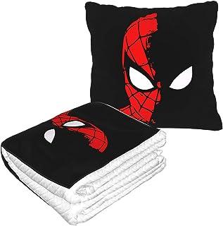 両用クッション ブランケット スパイダーマン フリースピローブランケット 2WAY ひざ掛け 毛布 クッション 抱き枕に折畳み お昼寝ケット 冷房対策 座布団 安眠枕 休憩枕 オフィス 人気 柔軟 お昼寝まくら ダブルジッパー付き トラベル