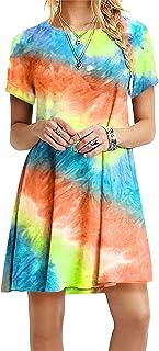 OMZIN - Vestido de mujer de manga corta, informal, de corte redondo, en tallas grandes, de 2XS a 5XL Zr-Orange. XXXXXL