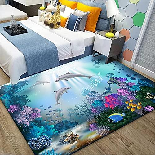 RUGMRZ Alfombras De Pasillo Baratas Mundo Submarino 3D Visual Visual Living Sala de Estar Dadu Short Mao Harmonic Tea Whisperate Alfombra Nuevo alfombras Infantiles lavables120X160CM/3ft 11''X5ft 3''