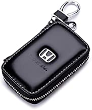 Gaocar Auto Parts Car Key case for Honda,Genuine Leather Car Smart Key Chain Keychain Holder Metal Hook and Keyring Zipper Bag for Remote Key Fob - Black (for Honda)