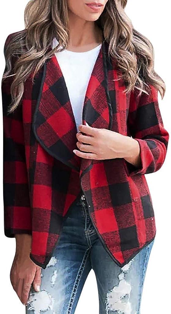 TOTOD Women V-Neck Lapel Long Sleeves Plaid Cardigan Open Front Irregular Outerwear Fashion Jacket Coat