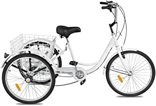 Adult Tricycles 7 Speed, Adult Mountain Trikes 24 Inch, 3 Wheel Bikes Bicycles Cruise Trike with Rear Shopping Basket for Seniors, Women, Men