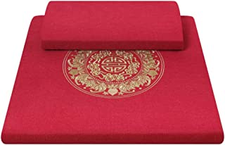 Meditation Cushion Set Coconut Fiber Large Meditation Pillow Square Yoga Pillow for Women and Men, Red (Size : 80×80×4cm)