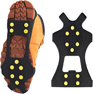 TRADERPLUS Ice Snow Shoes Grips Traction Cleats Over Boots with 10 Steel Studs Crampons for Walking, Jogging, Climbing and Hiking