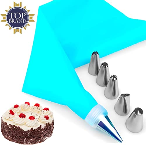 Bulfyss Stainless Steel 6 Nozzle,1 Coupler & 1 Reusable Icing Bag Kit for Cup Cake, Muffin, Cake Icing, Piping and De...