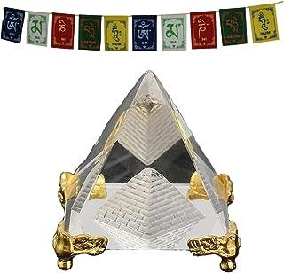 Divya Mantra Feng Shui Crystal Glass Pyramid with Golden Stand for Spiritual Healing, Vastu Correction and Balancing - 4 cm and Premium Quality Tibetan Buddhist Prayer Flags for Car/Motorbike - 3 Ft