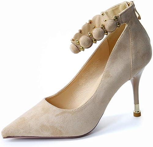 LBTSQ-La Mode Rivet Ceinture Pointu 8Cm Chaussures à Talons Talons Hauts Petite Bouche Maigre Talon Seule Chaussure.  vente de renommée mondiale en ligne