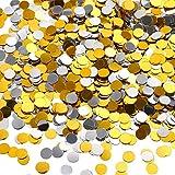 3,5 Onzas de Confeti de Círculo Confeti de Papel Metálico Brillante Confeti Redondo de 1/4 Pulgada para Materiales de Decoración de Fiesta de Boda Cumpleaños (Plateado y Dorado)