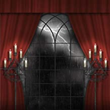 Classic Halloween Party Decorations Photo Booth Backdrop Vintage Candles Curtain Rainy Lightning Out Window Night Retro Photography Background for Studio