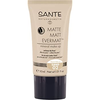 SANTE Naturkosmetik Matte Matt EvermatTM Mineral Make up 02 Sand, Mittlerer Hautton, Mattes Finish, Vegan, Natural Make-Up, 30ml