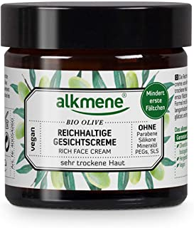 comprar comparacion alkmene Crema facial con oliva orgánica - Crema de día rica para piel muy seca - Cuidado facial vegano sin siliconas, para...