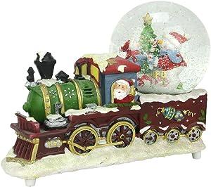 "Northlight 9.5"" Santa Claus Christmas Train with Snowman Scene Glitterdome Snow Globe Table Top Decoration"