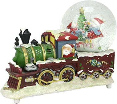 "Northlight 9.5"" Santa Claus Christmas Train with Snowman Scene Glitterdome Snow Globe Table Top Decoration"