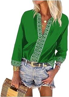 DressU - Blusa para Mujer con Cuello en V y Estampado de Talla Grande