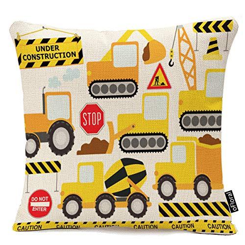 oFloral Throw Pillow Cover Cartoon Construction Crew Vehicles Truck Chevron Sign Equipment Decorative Pillow Case Home Decor Square 20x20 Inches Pillowcase